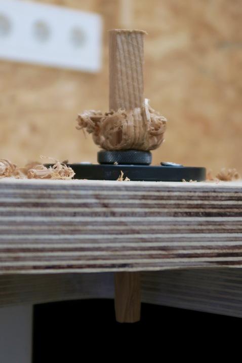 Holzdübel in Eigenproduktion.